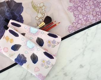 Crystals Illustrated Pencil / Make up Bag
