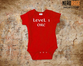 Level 1 Orc Baby Onepiece , World of Warcraft Bodysuit, Dungeons and Dragons Snapsuit, Geeky Baby Shower Gift, RPG First Birthday Gift