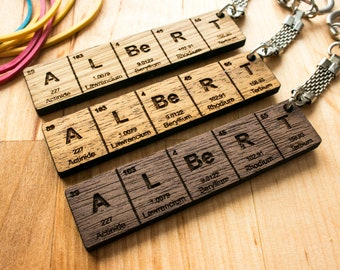 Chemistry keychain etsy periodic table name keychain gifts for him gifts for her wood gifts urtaz Image collections
