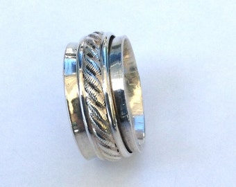 Wedding Spinner Ring - Worry Ring - Sterling Silver Spinner Ring - Serling Spinner Ring For Women - Fidget Ring - Worry Ring - Eternity Ring