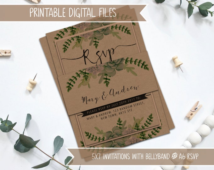 PRINTABLE Rustic Wedding Invitation Bundle - Callie Collection - Succulents