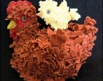 Hibiscus Red Hen Soft Sculpture Fabric Mache Doll and Chick Cookie