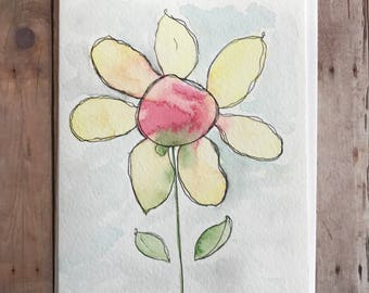 Watercolor and Ink Card, Hand Painted Flower Card, Homemade Cards, Watercolor Flower Card