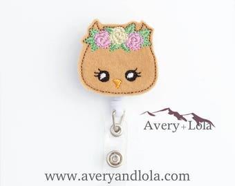 Owl Badge Reel, Animal Badge Reel, Owl ID Holder, Animal ID Holder, ID Badge Holder, Teacher Gift, Nurse Gift