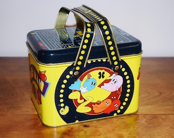 Pac-Man Metal Lunch Box, 1980 Pac Man Atari Video Game Lunchbox by Midway, Namco Arcade Game 2 Handle Swing Handle Tin Lunch Box, Ghost