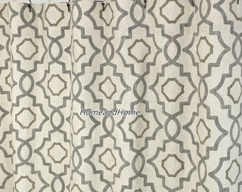 Fabric Shower Curtain Talbot Metal Grey Beige Cream Long 72 X 84 108 Extra Wide Custom