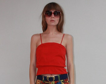 1970s CHRISTIAN DIOR Cropped Cotton Top Sz S