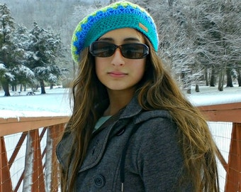 striped beret| slouchy beanie| granny square hat| girls winter hat| bright striped hat