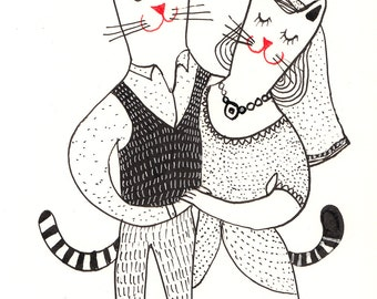 Rain of Love /Wedding illustration/ ORIGINAL ILLUSTRATION / ink drawing / wedding / paintings cats / in love