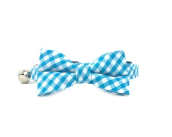 Blue Gingham Bow Tie Cat or Kitten Collar- Bow Tie Cat Collar- Removable Bowtie