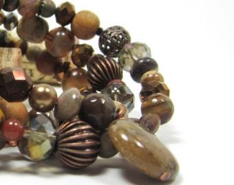 Earth colors - Handmade beaded wrap bracelet-- rich brown gemstone, Czech glass, copper + brass beads, wrap bracelet  aGiftofLaughter tagt
