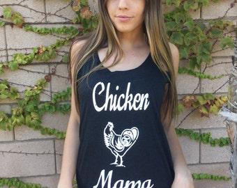CHICKEN MAMA  - Womens racerback tank top - medium/large/xlarge- black