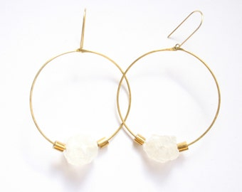 FROST | Large Hammered Brass Hoops with Rough Clear Quartz Nugget and Solid Brass Beads