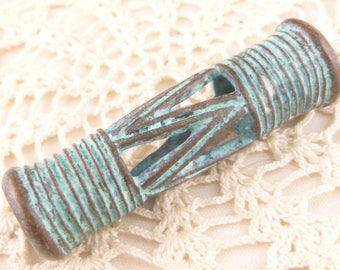 Rustic Patina Tube Bead, Large Hole Tribal Drum, Mykonos Casting Beads (1) - M96 - X5234