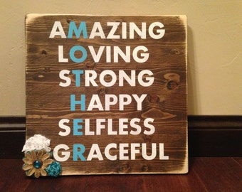 Mothers Day Gift - Rustic - Mom Gift - Wood Sign