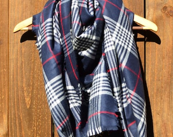 Blanket Scarf in Navy Plaid- womens shawl wrap throw navy blue white red winter