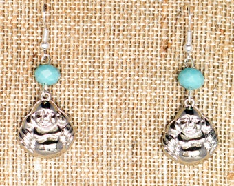 Buddha Earrings, Yoga Jewelry, Zen Jewelry, Dangling Earrings, Buddhism Jewelry