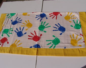 Self binding Baby Blanket - Handprints