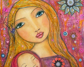 Sweet Lullaby, Mother and Baby Art Print, Motherhood Painting, Mother and Child, Wall Art Print