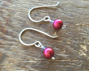 Fuschia Freshwater Pearl and Iolite Sterling Silver Earrings