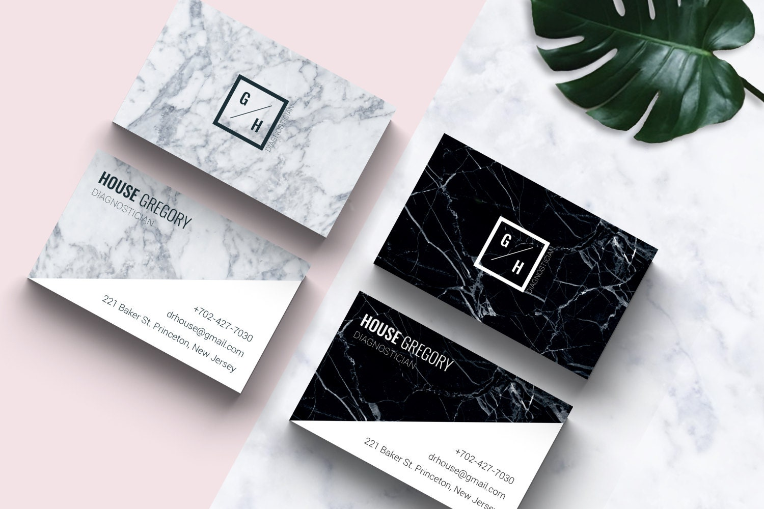 Business card template l marble design black white modern zoom reheart Choice Image