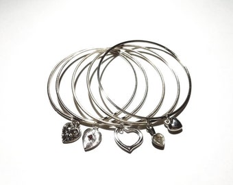Vintage Silver 1970's Set of 5 Bangle Bracelets Stack with Floating Dangling Heart Charms