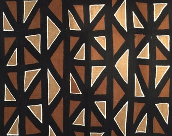 Authentic African Mudcloth Throw, Earthy, Brown, Rust, Mustard/Olive, Black, White, Triangles, Geometric