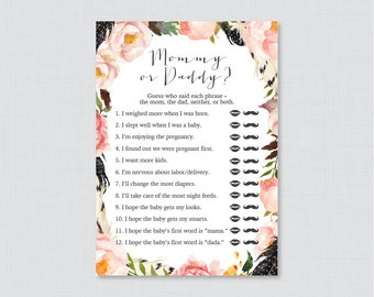 Boho Mommy Or Daddy Baby Shower Quiz   Bohemian Baby Shower He Said She  Said Game   Pink Floral And Feathers Phrases Quiz Game   0049