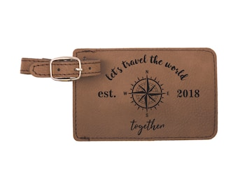 Luggage Tag, Luggage, Heart, Honeymoon,  Leather Luggage Tag, Personalized luggage tag, Gifts for the Couple, Luggage tags, world travelers