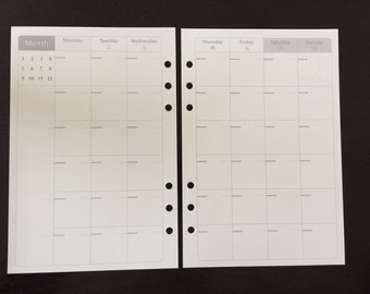 A5 Filofax Kikki K Large Planner Monthly Paper Inserts 13 Sheets