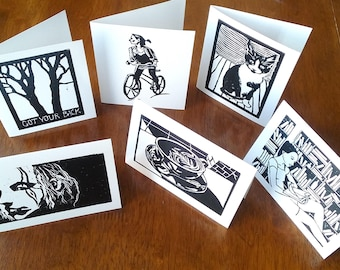 "Blank notecards set of 6 with envelopes // Block print art stationery size A2 (5.5"" x 4.25"") cards"