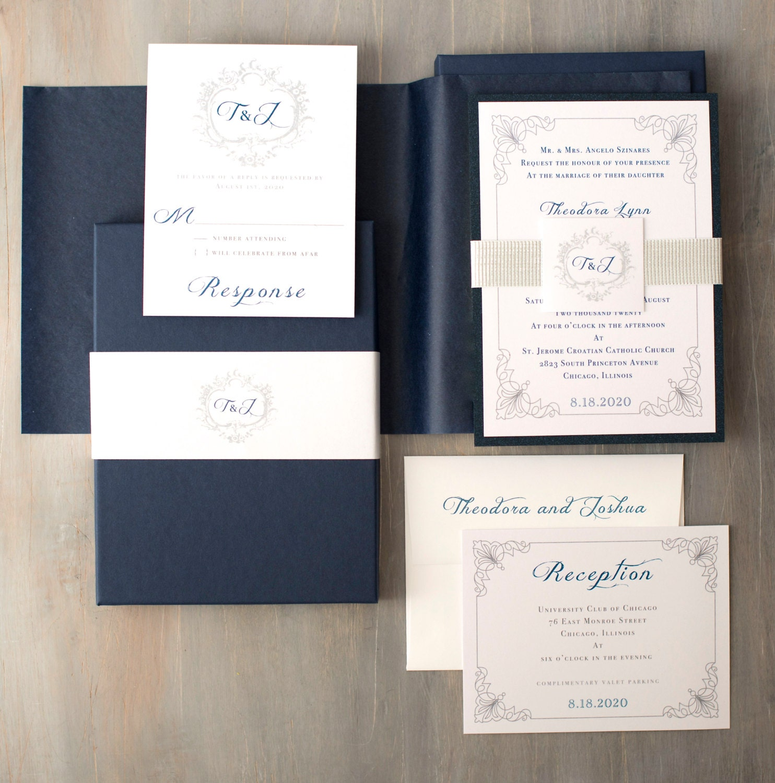 Navy Wedding Invitations with Monogram Modern Wedding Invites