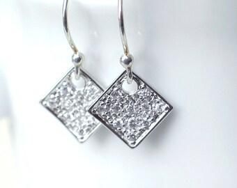 CZ Earrings | Diamond Shape | Crystal Pavé Drop Earrings | Argentium Sterling Silver Earwires | Small Twinkle Dangles | Everyday Earrings