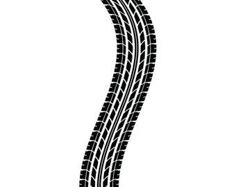 Tire Track #2 Tread Racing Race Mechanic Engine Repair Service Shop Garage Car Automotive .SVG .EPS .PNG Clipart Vector Cricut Cut Cutting
