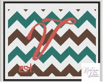 Monogram Chevron V Cross Stitch Pattern Personalized