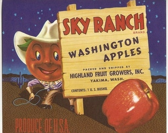 5 Old Apple Crate Labels  WASHINGTON, Oregon ,INDIAN Chief,Apple COWBOY Etc....