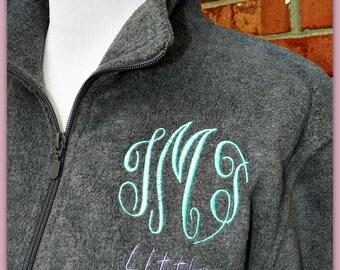 Monogrammed Personalized Fleece Pullover quarter zip jacket Big Little Sorority