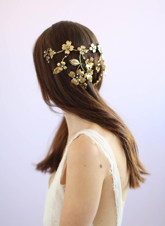 of bridal hair style bridal headpiece dogwood flower crown style 646 3562