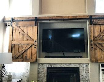 TV Hide Barn Door Set   Rustic TV Barn Door   Sliding Window   Interior