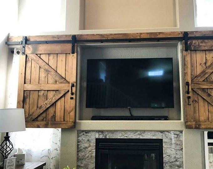 Featured listing image: TV Hide Barn Door Set - Rustic TV Barn Door - Sliding Window - Interior - Sliding TV Cover - Barn Door Cabinet - Farmhouse Door