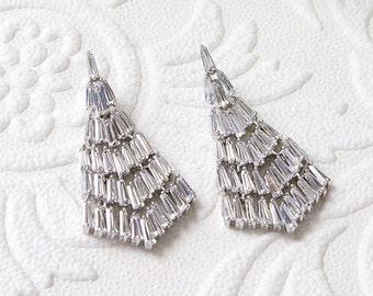 Chandelier Earrings Bridal Jewelry Dangle Earrings Vintage Earrings Silver Earrings Crystal Earrings Long Drop Earrings Art Deco E202-S