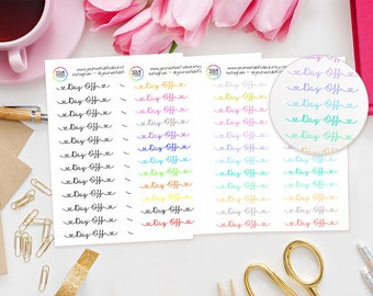 Day Off Planner Stickers - perfect for Erin Condren Life Planner, Kikki K, Happy Planner, or Filofax Planner / Work / Text /Heart