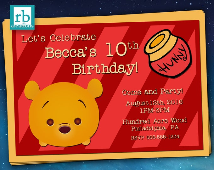 Winnie the Pooh Tsum Tsum Invitations, Tsum Tsum Invitations, Winnie the Pooh Party, Pooh Invitation, Pooh Birthday - Digital Printables