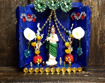 Saint-Jude-Nicho / San-Judas Handmade Altar / Catholic Retablo / Miniature Wooden Shrine / Ornament / Magnet