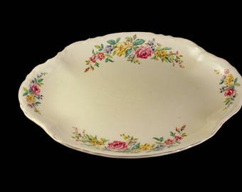 Oval Platter, W S George, Radisson, Floral Sprays, Yellow and Pink Flowers, Serving Platter, Gold Trimmed