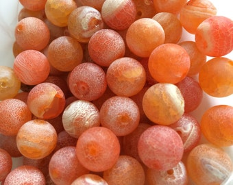 Raw agate, orange agate beads