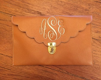 Monogrammed Scallopped Clutch Crossbody-NEW COLORS/Monogram Crossbody