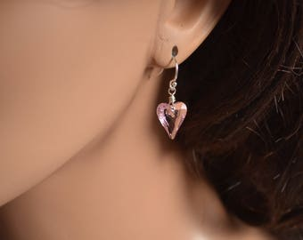 Crystal Heart Earrings, Dangle, Real Swarovski Beads, Valentine's Day, Pastel Pink Light Rose, Drop, Sterling Silver Jewelry