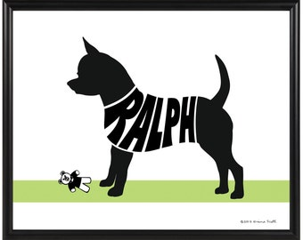 Personalized Chihuahua Silhouette Print, Smooth Coat or Long Haired Chihuahua Wall Art, Framed Dog Decor