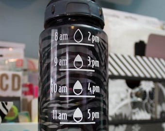 Make your own water bottle time markings with this cutting file